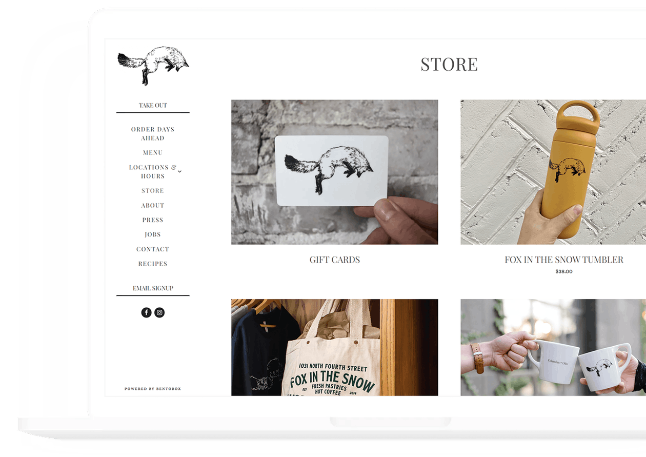 fox in the snow - bentobox restaurant customer - website simplicity