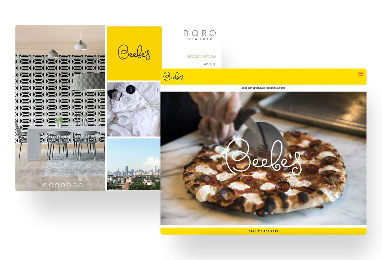 A screenshot of the restaurant website for Beebe's.
