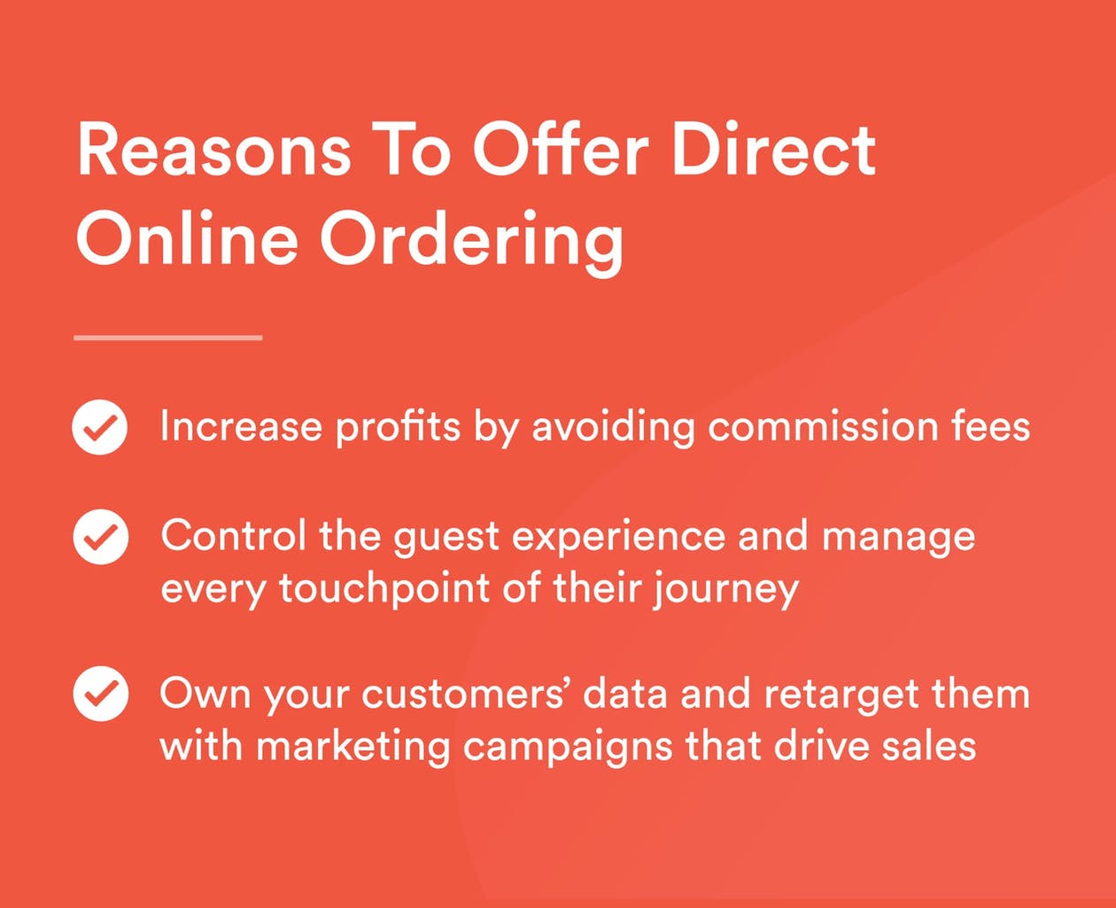 A graphic explaining the 3 reasons to offer direct online ordering.