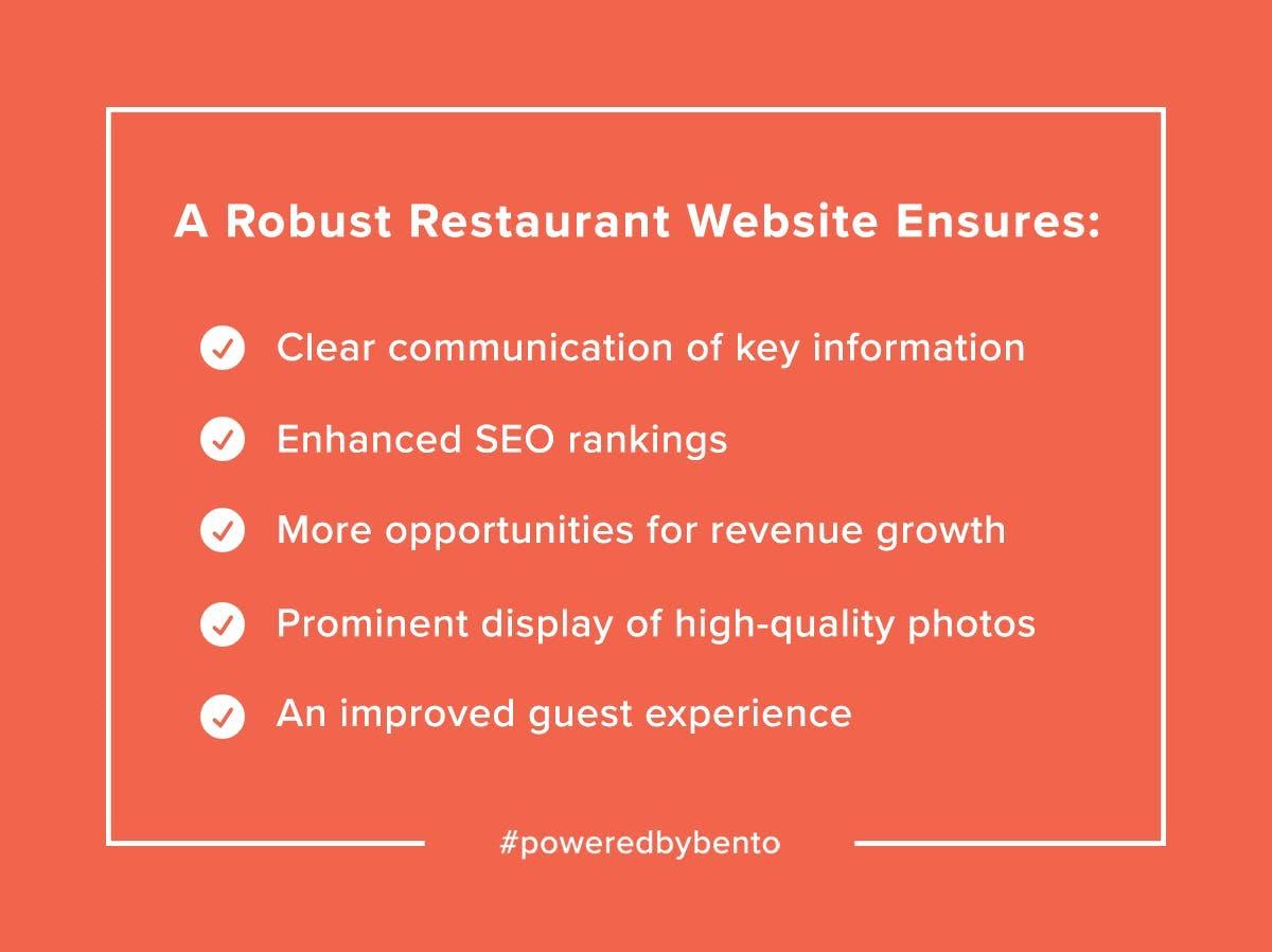 A Robust Restaurant website ensures