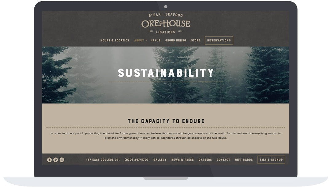 Ore House's sustainability page on their website.