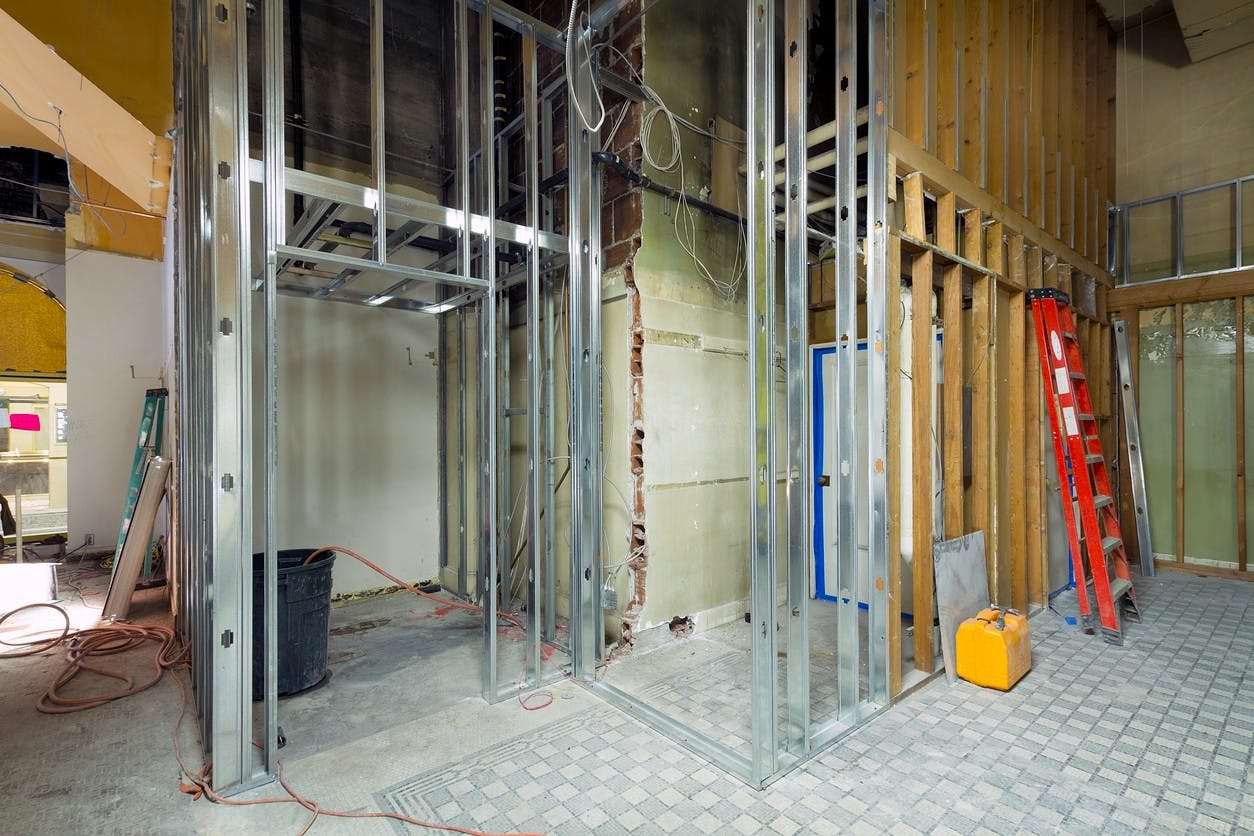 construction on the inside of a building