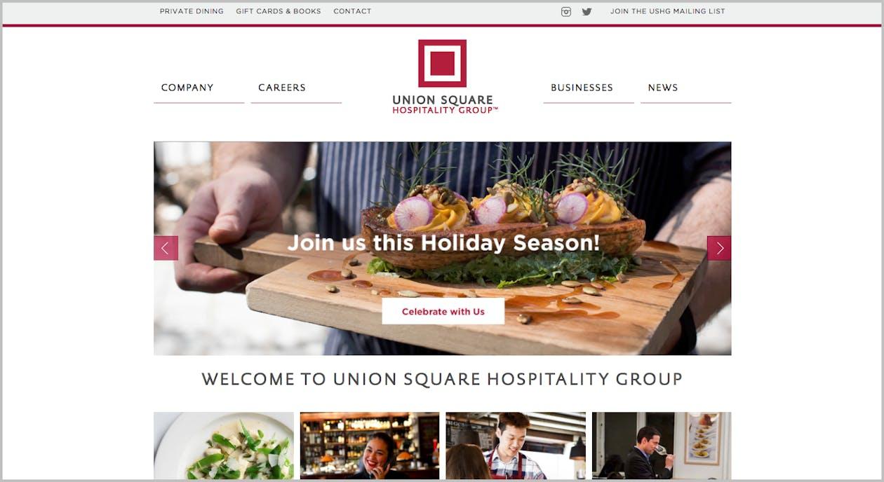 a screenshot of a restaurant website.