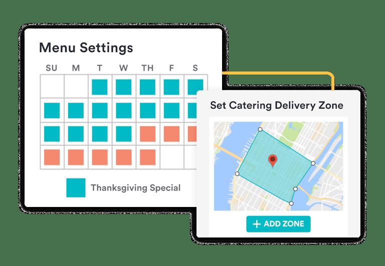 bentobox deliver and pre-order & catering - menu scheduling