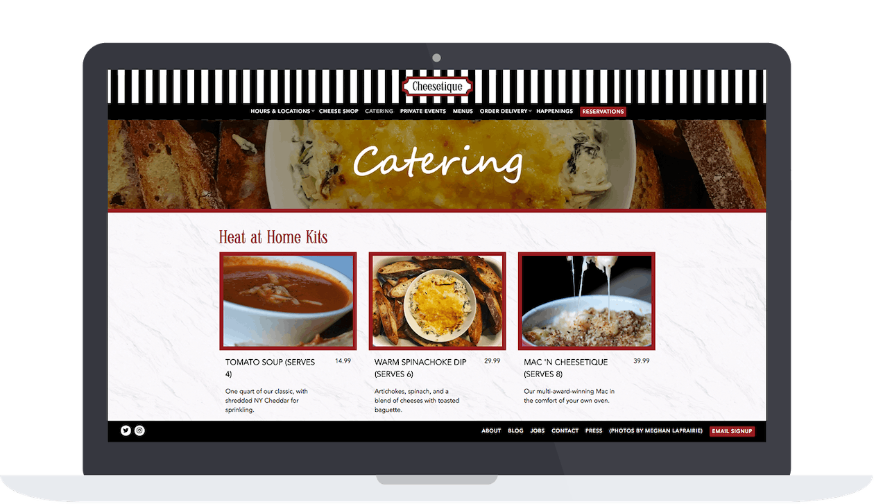 Cheesetique's catering store options