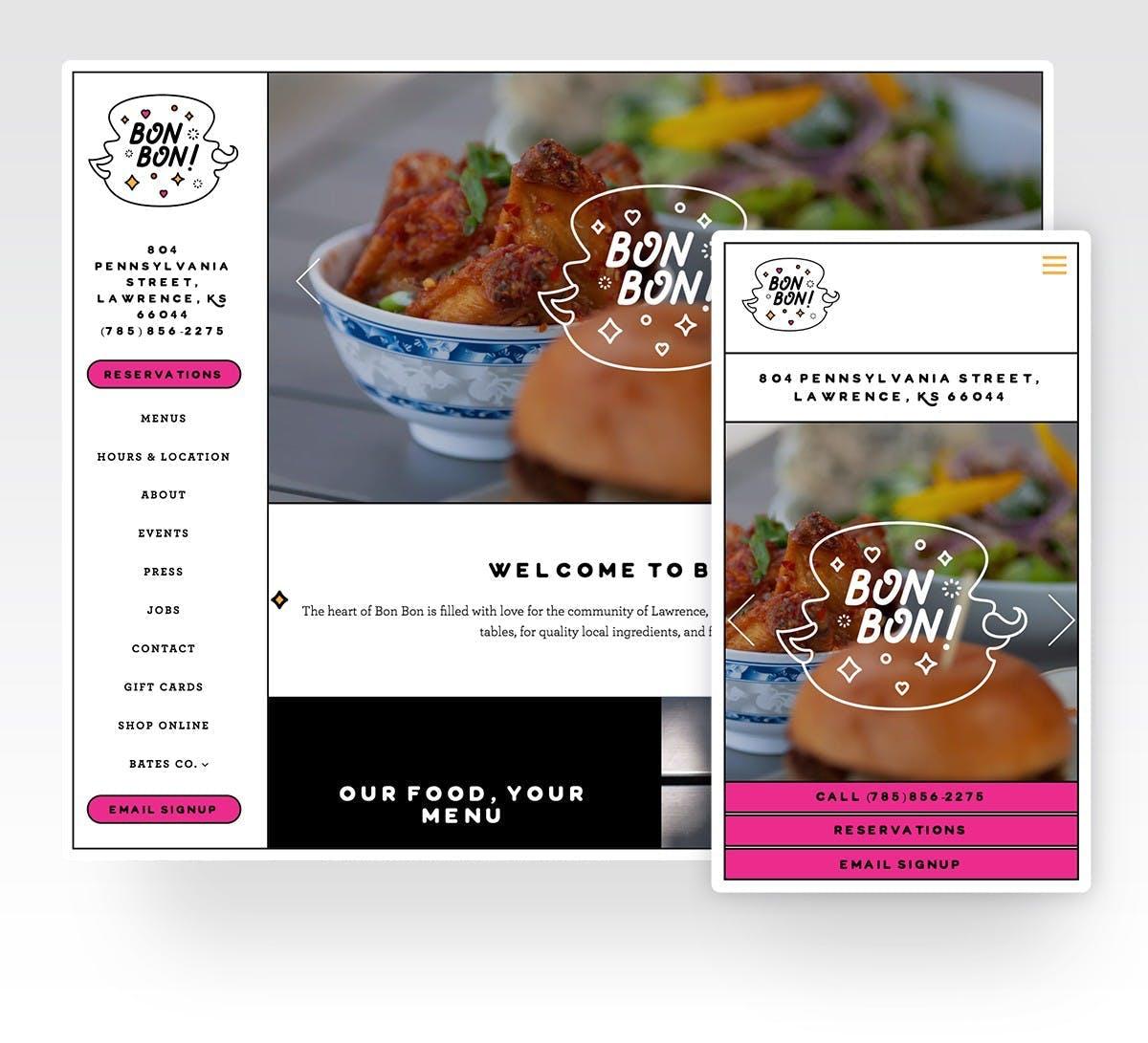 Screenshot of Bon Bon website