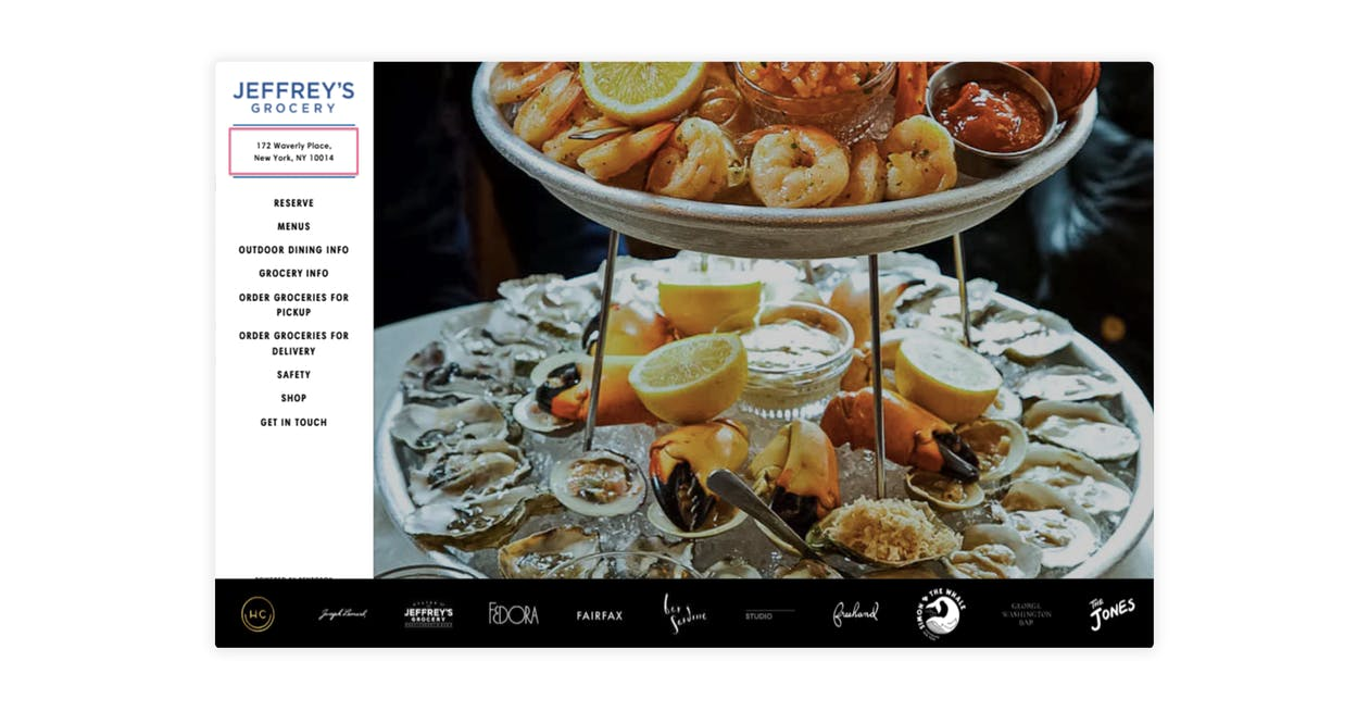 A graphic of a restaurant website