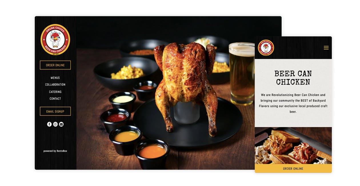 The website for Drunk Chicks Chicken, a ghost kitchen restaurant