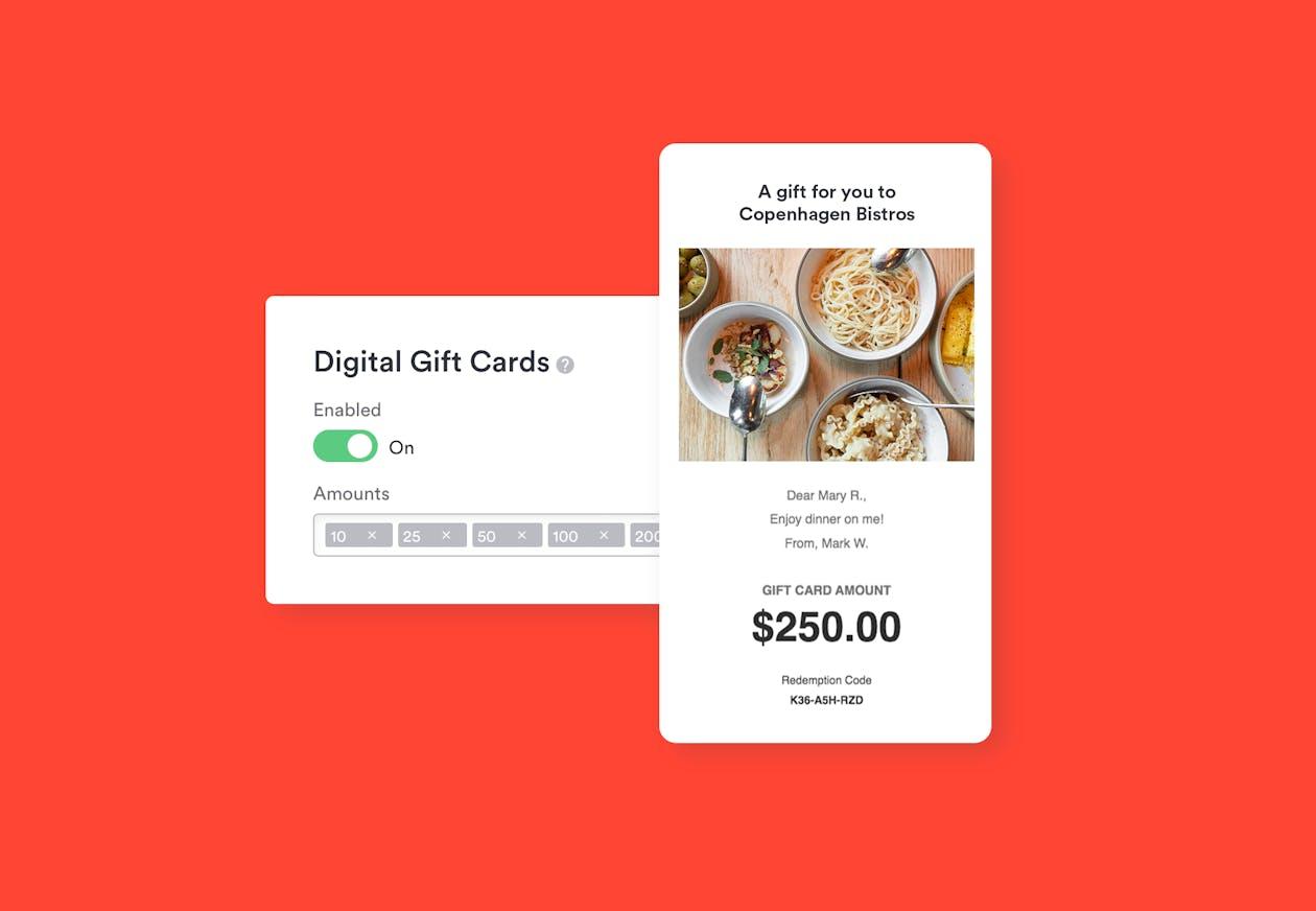 screenshots of BentoBox gift card management & email notification
