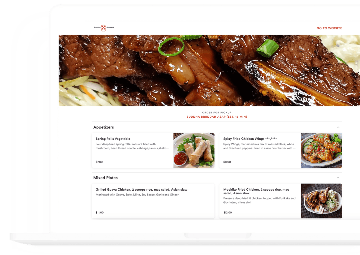 screenshot of BentoBox online ordering