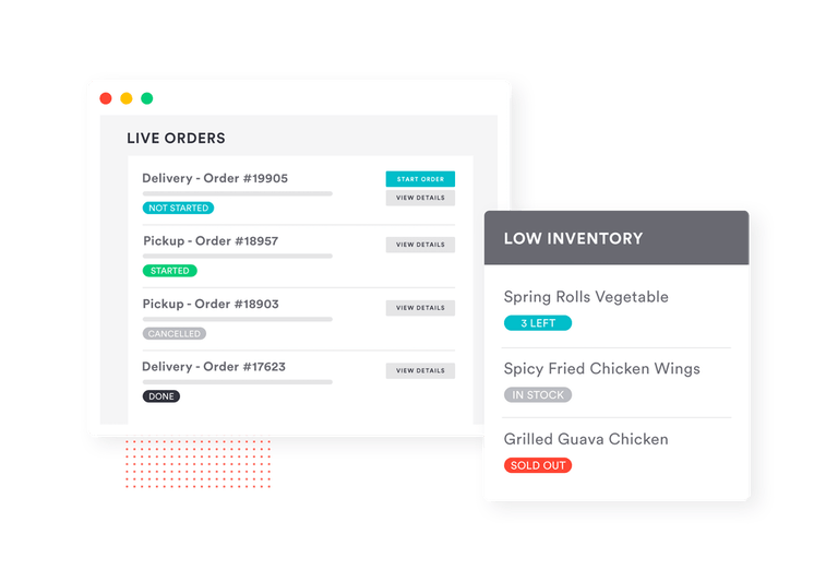 live orders view - low inventory management