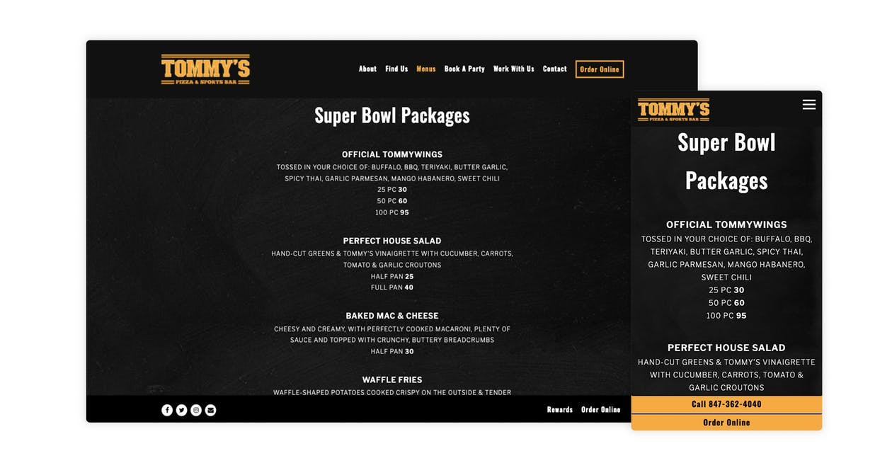 Tommy's Pizza and Sports Bar dedicates a menu to Super Bowl Packages