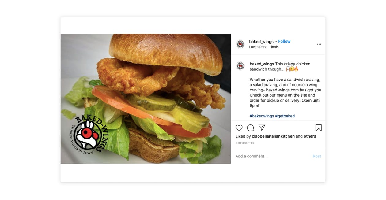 Baked Wings uses images of their food on Instagram to entice customers to order