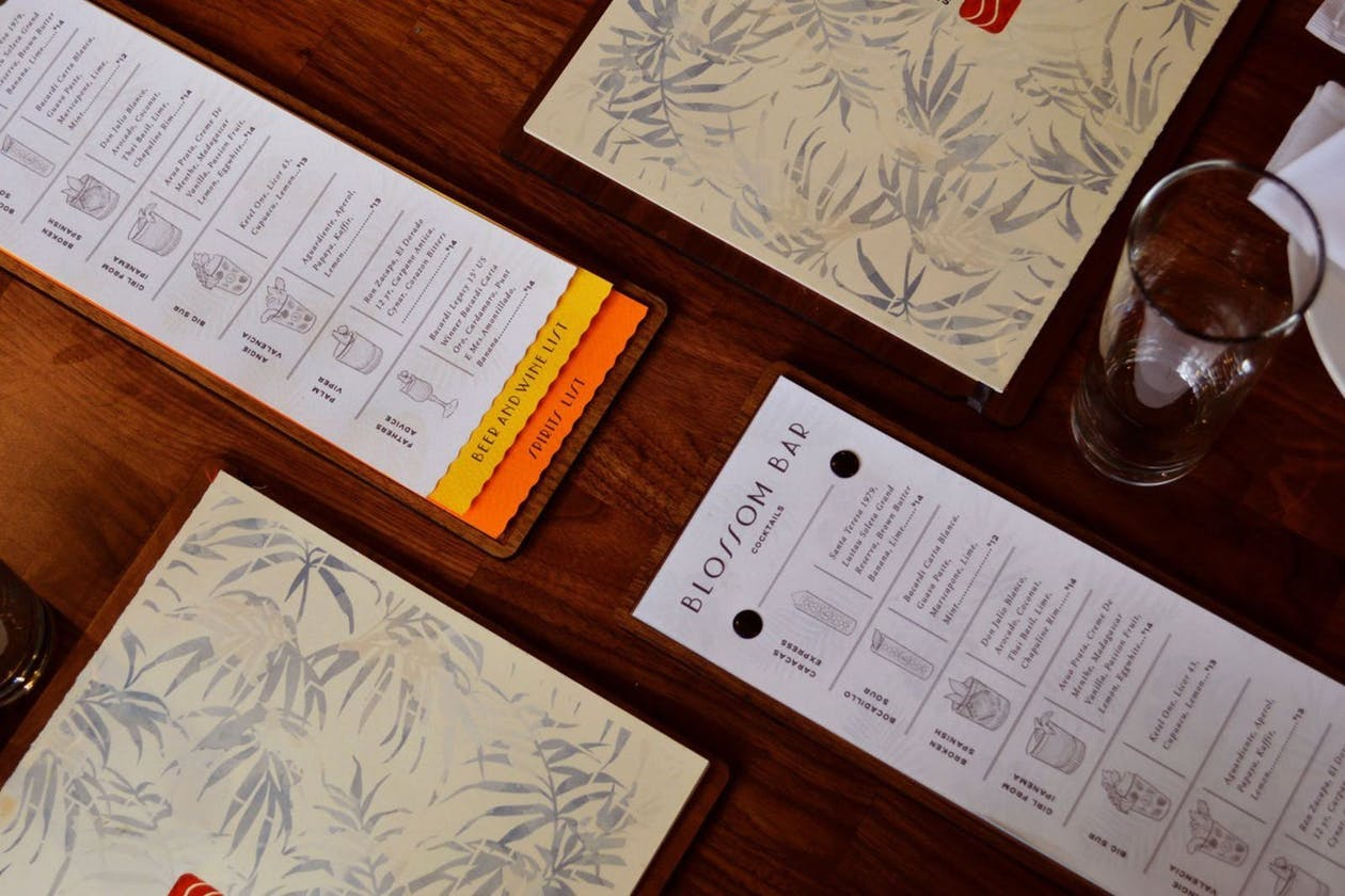 menus on a table