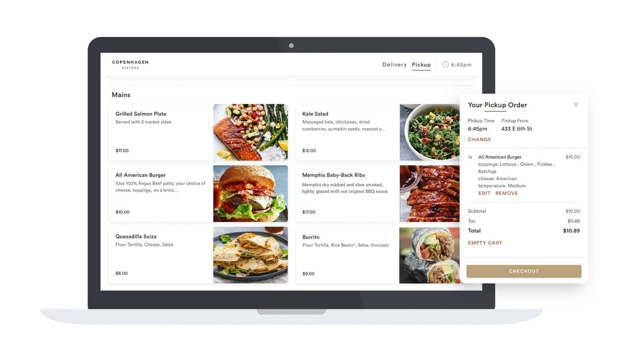 An example online ordering store for Copenhagen Bistro