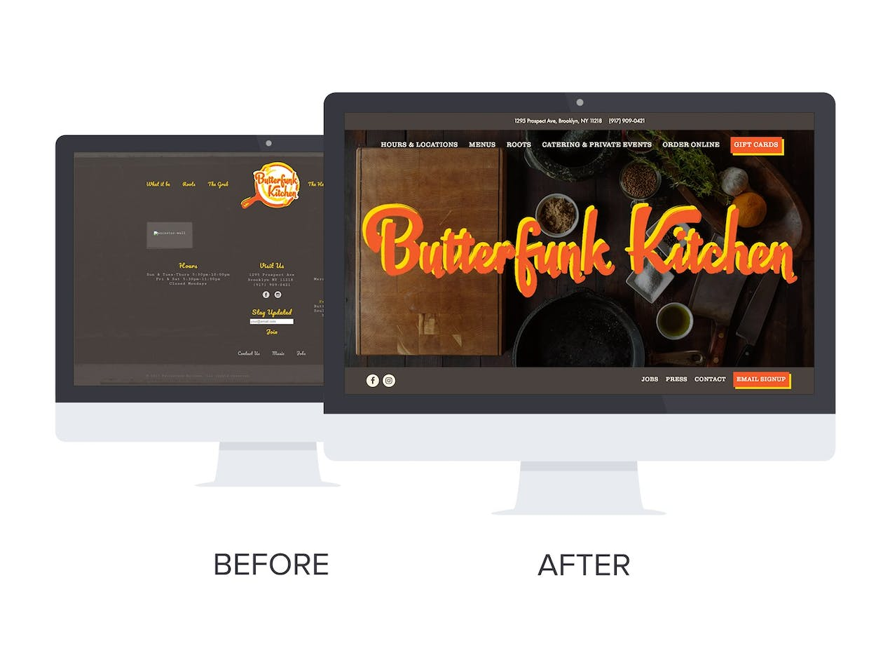 before and after shots of butterfunk's website