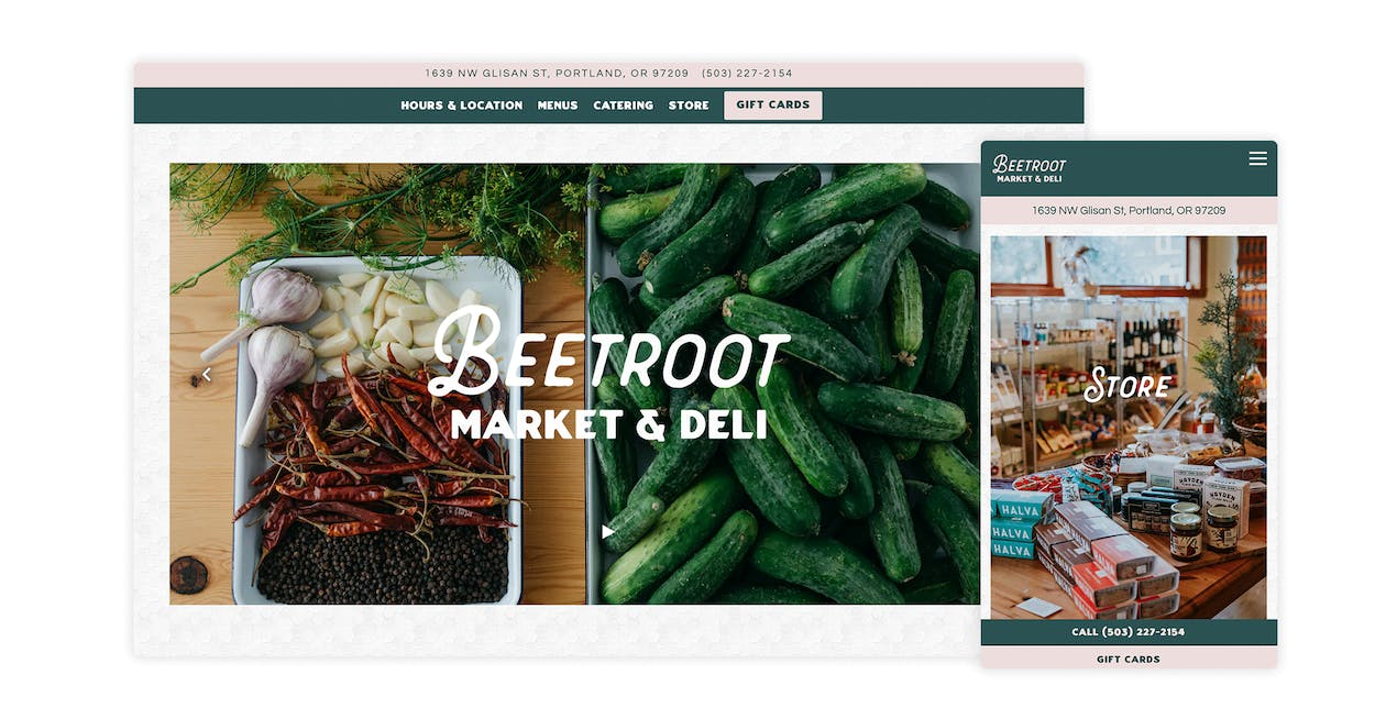 A screenshot of the website for Beetroot Market & Deli