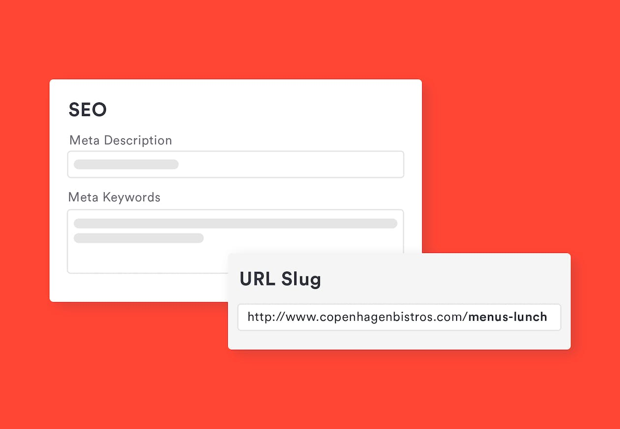 an image of the SEO and URL slug fields within BentoBox