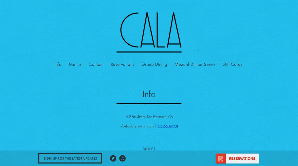 Cala's navigation bar neatly shows where to find info, reservations, and menus.