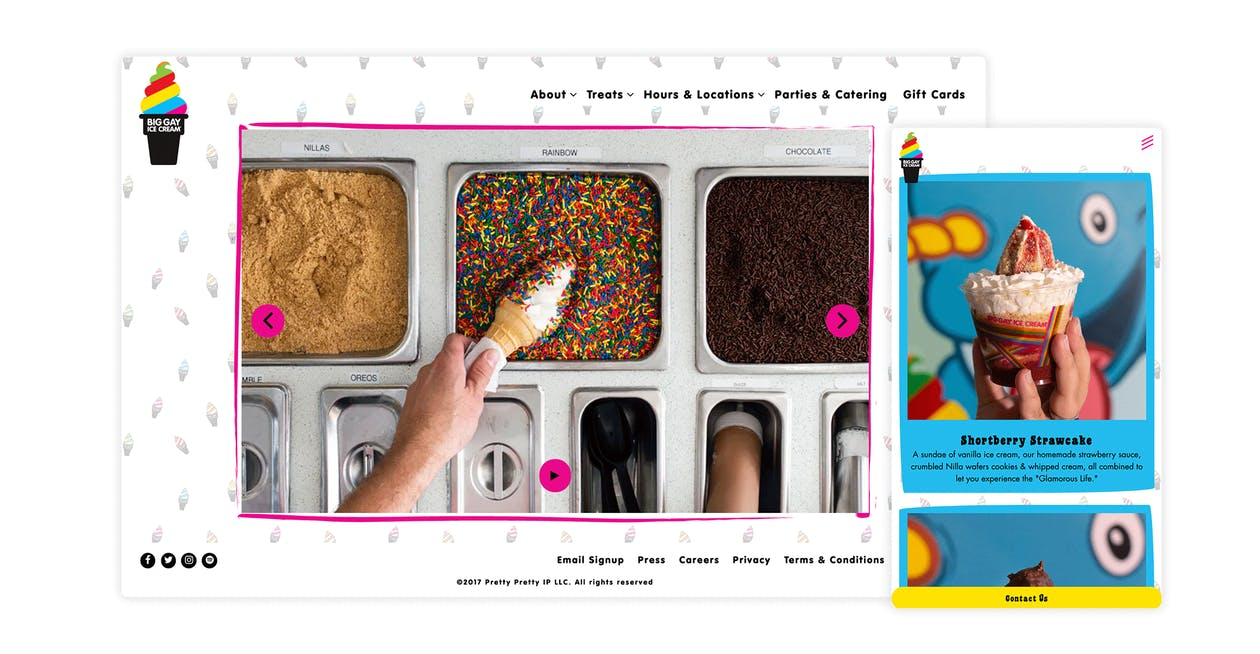 A screenshot of the website for Big Gay Ice Cream