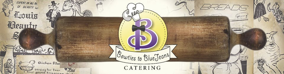 a stack of flyers on a table with a rolling pin and the bowties 2 blue jeans logo on top