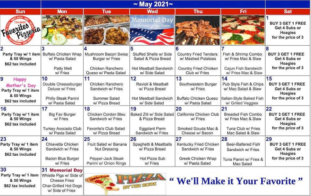 table, calendar