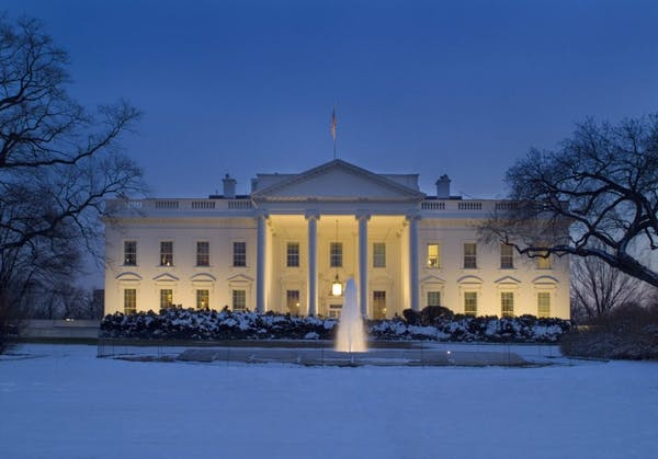 a large building in the snow