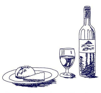 Plate of Food, Glass of Wine, Bottle of Wine