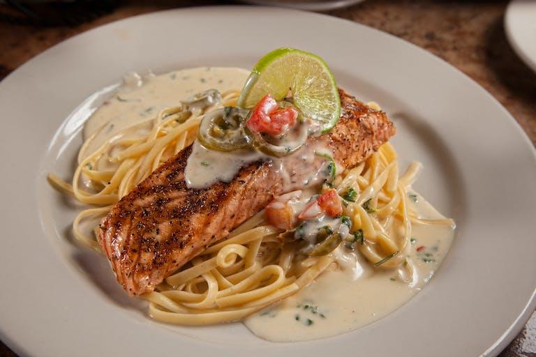 Pasta and salmon.