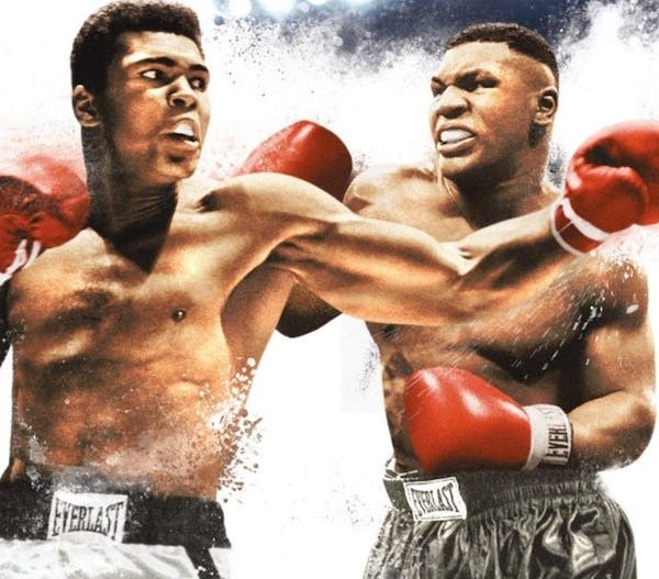 Muhammad Ali and Mike Tyson on boxing uniform posing for the poster
