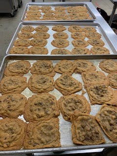 a tray of cookies