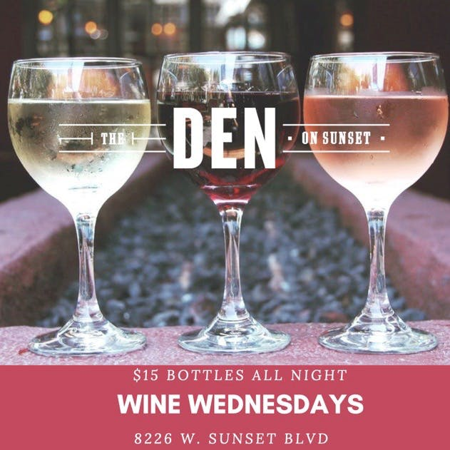 Wine Wednesday promo $15 bottles of wine
