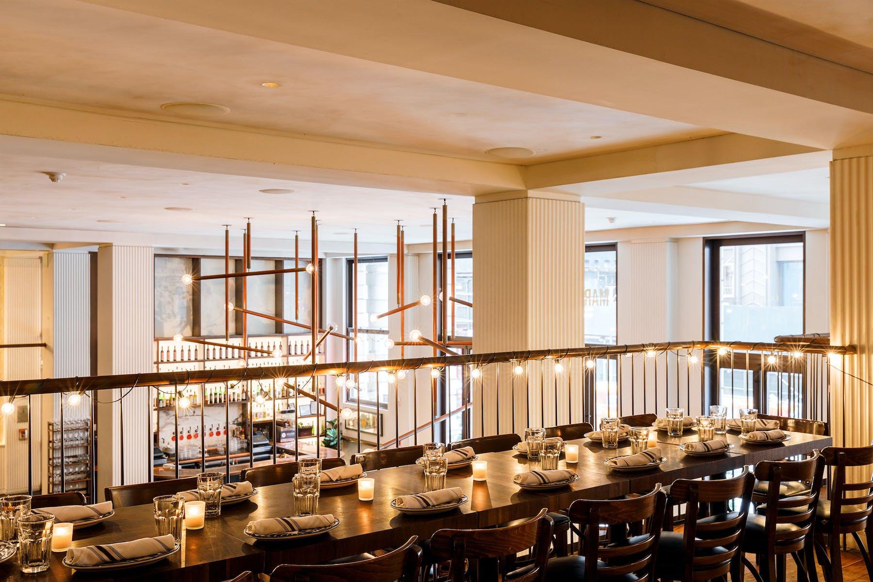 A table set on the Mezzanine at Marta