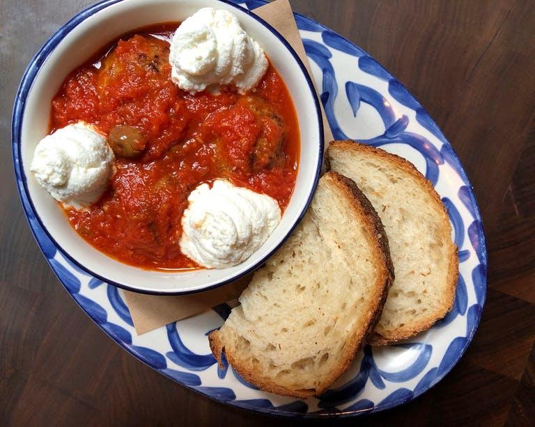 Marta's Chicken Meatballs with ricotta and sourdough