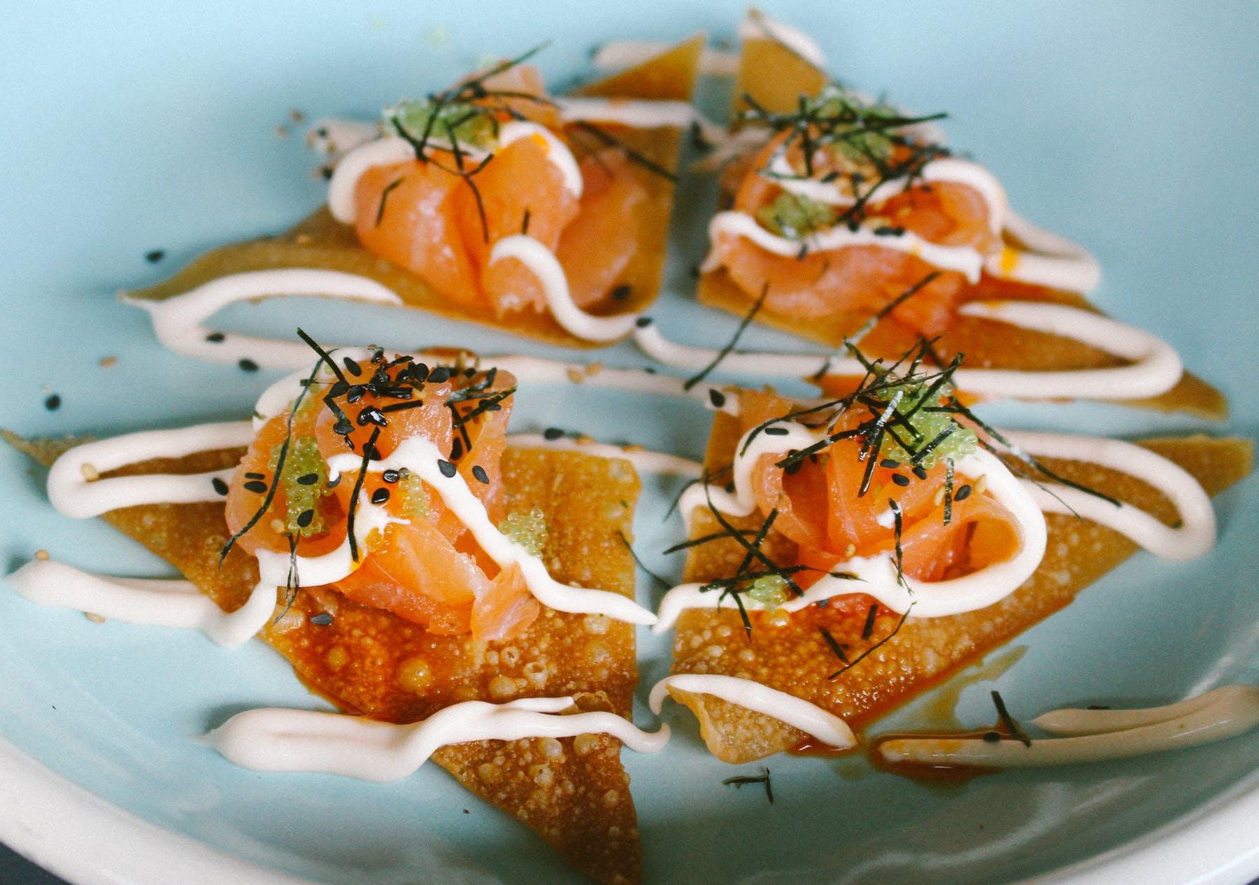 smoked salmon wontons