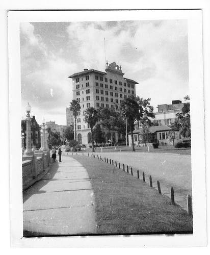an old photo of a city