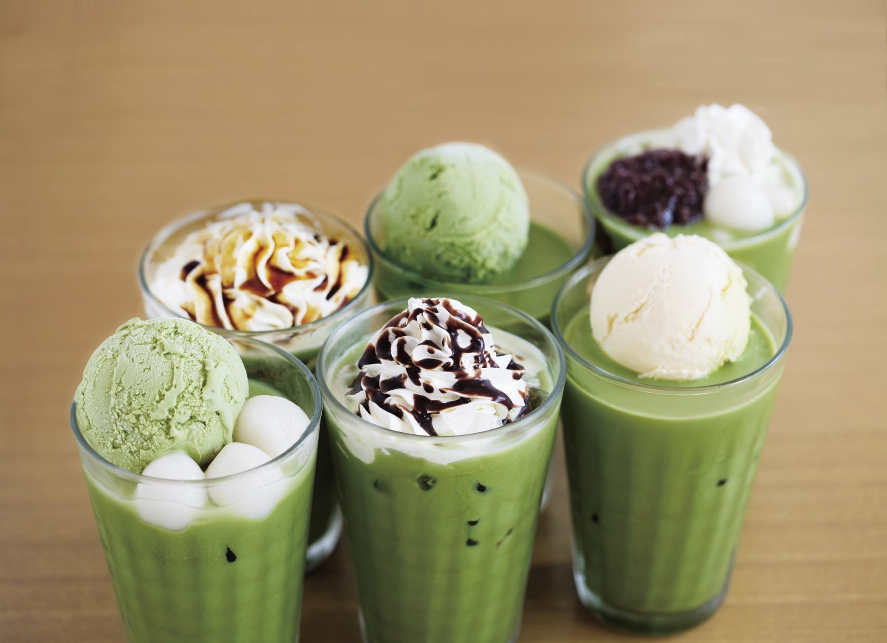 different types of matcha drinks