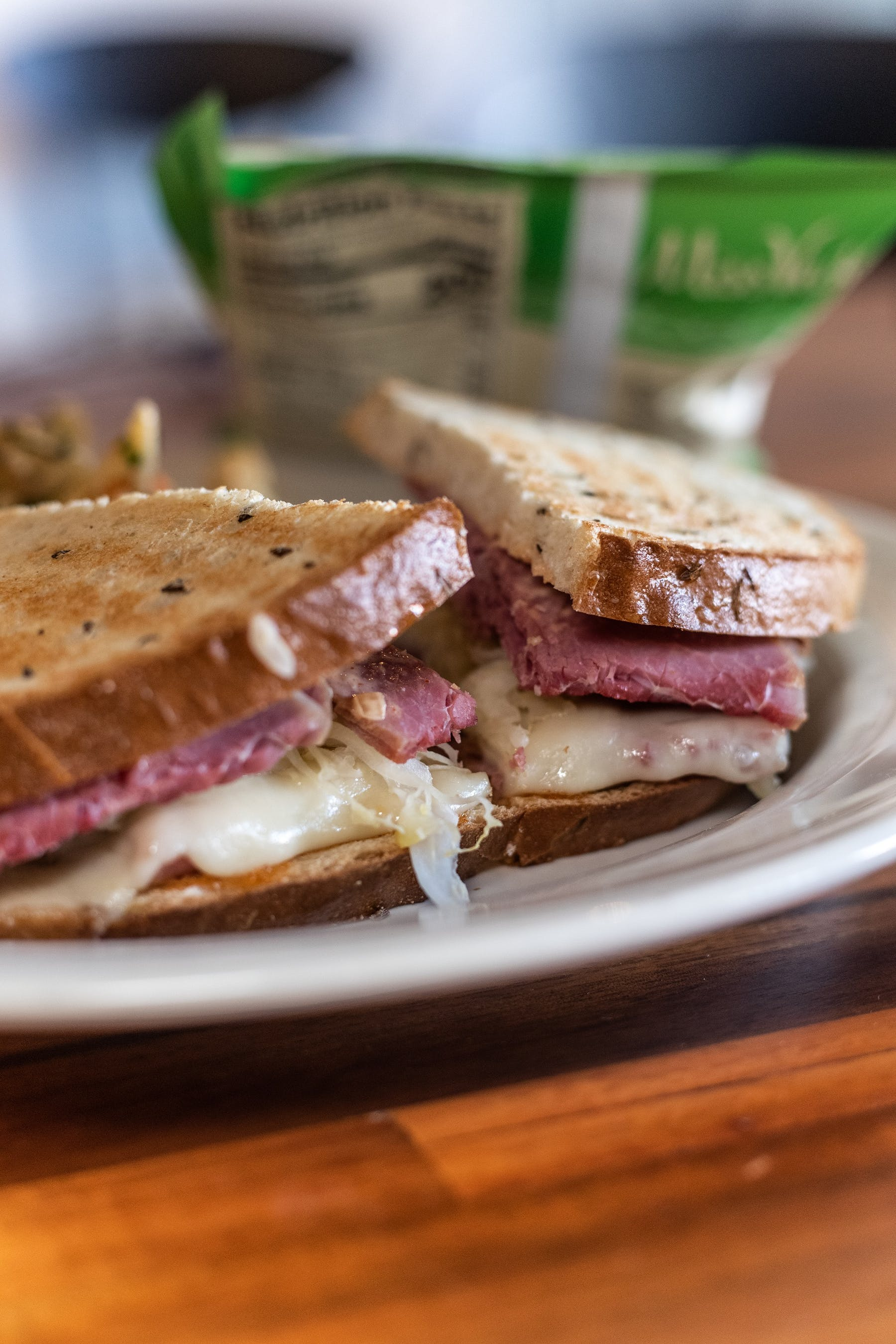 close up of roast beef sandwich