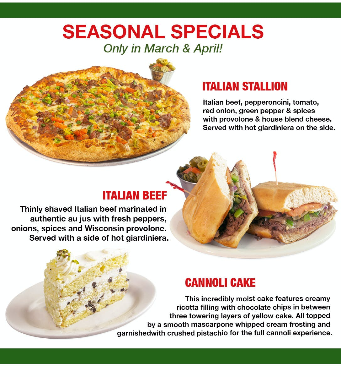 March and April Special Pizza Sub and Dessert