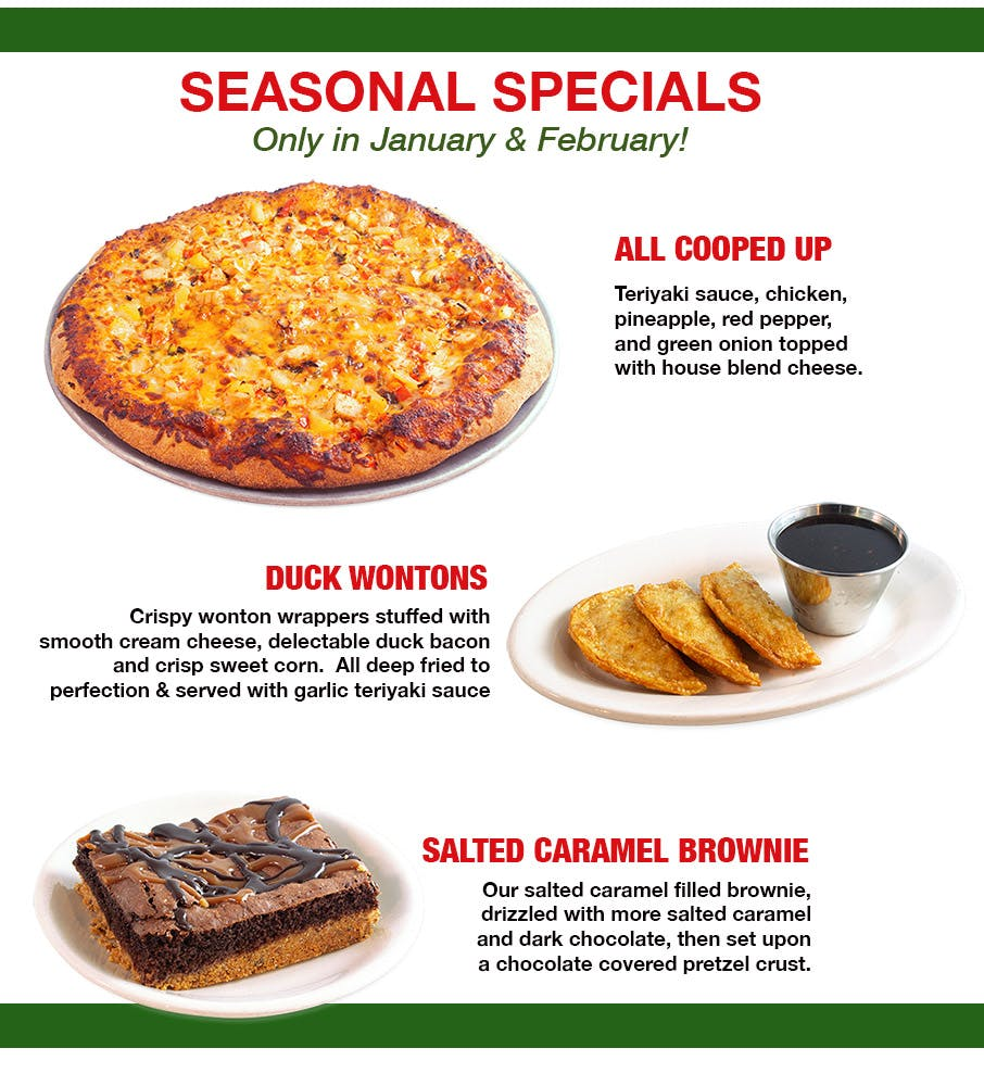 pizza of the month and seasonal favorites at Glass Nickel Pizza