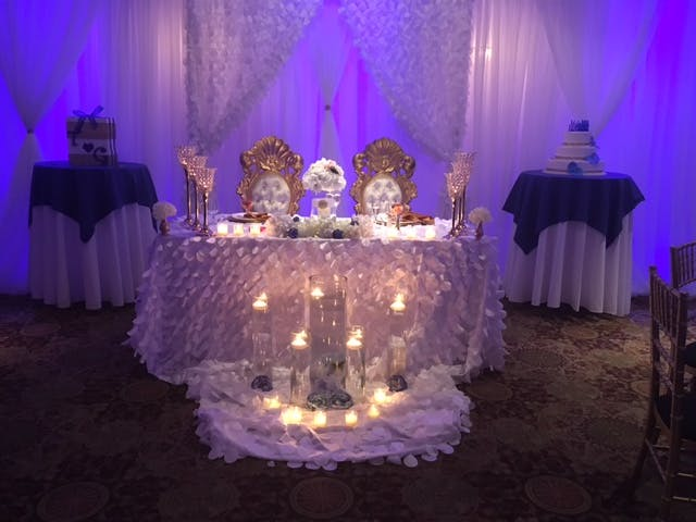 a decorated table in a room