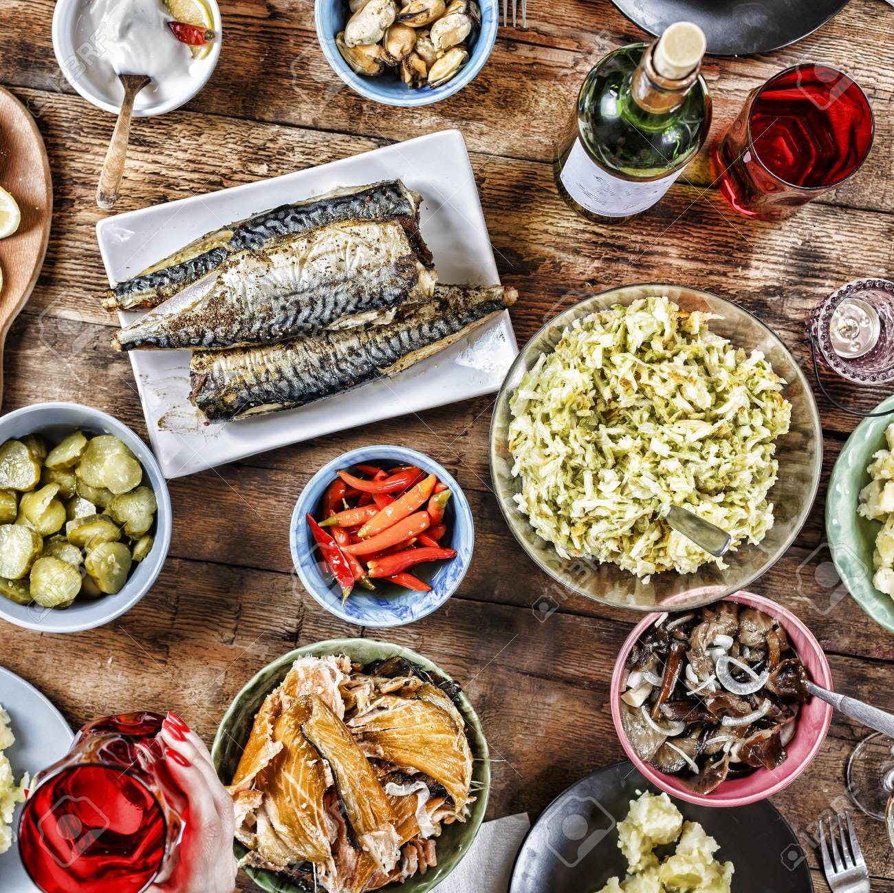 many different types of food on a table