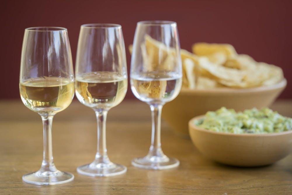 three glass cups