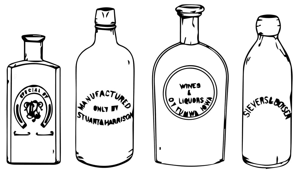 a drawing of a bottle