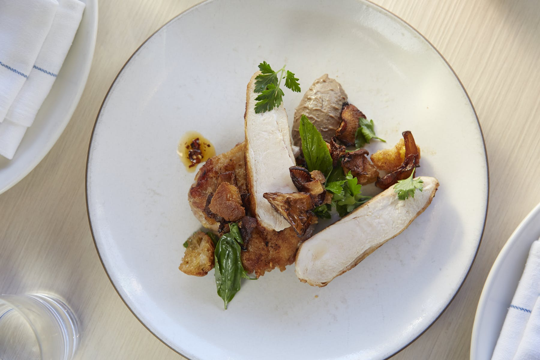 chicken dish with mousse