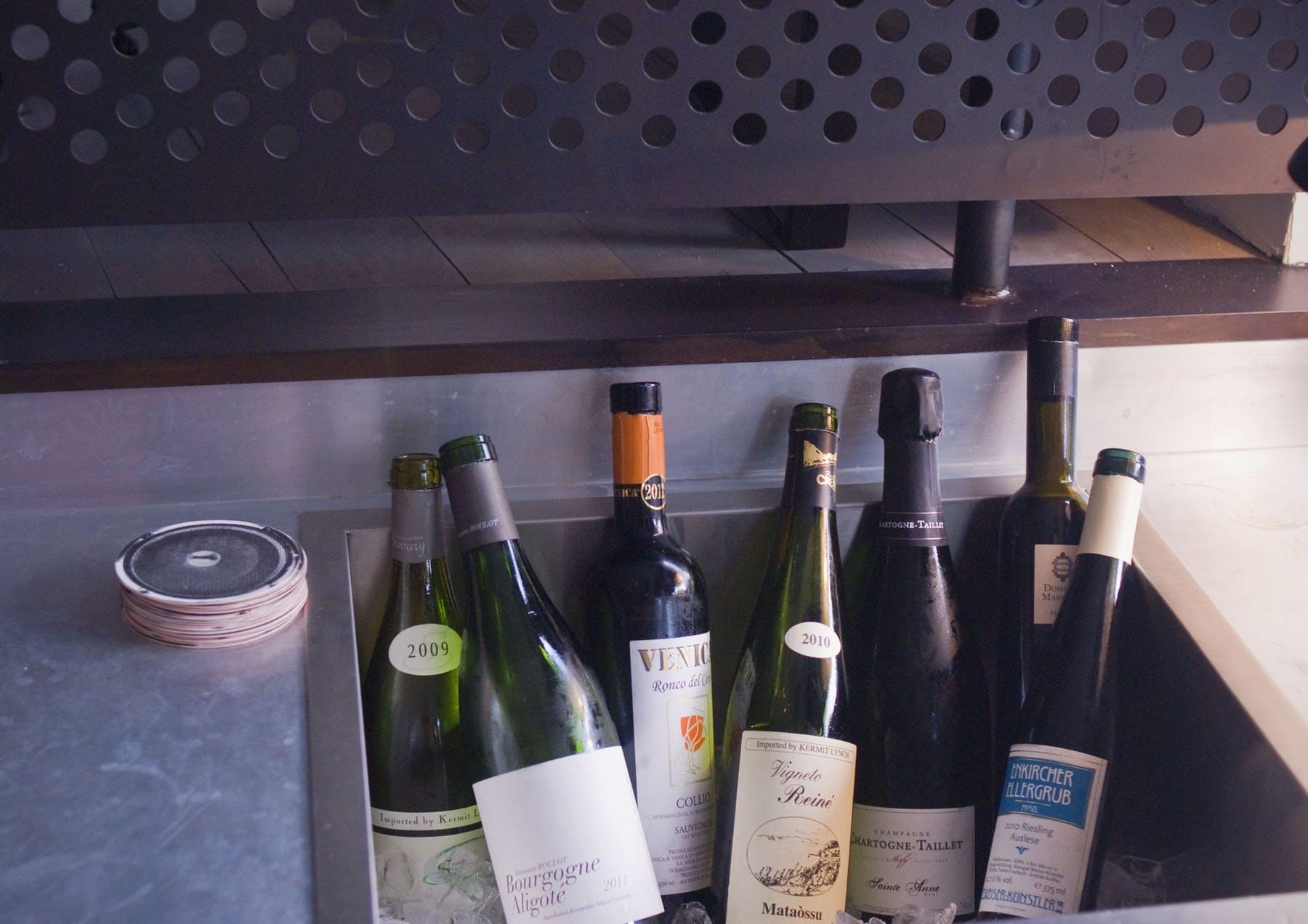 display of wine