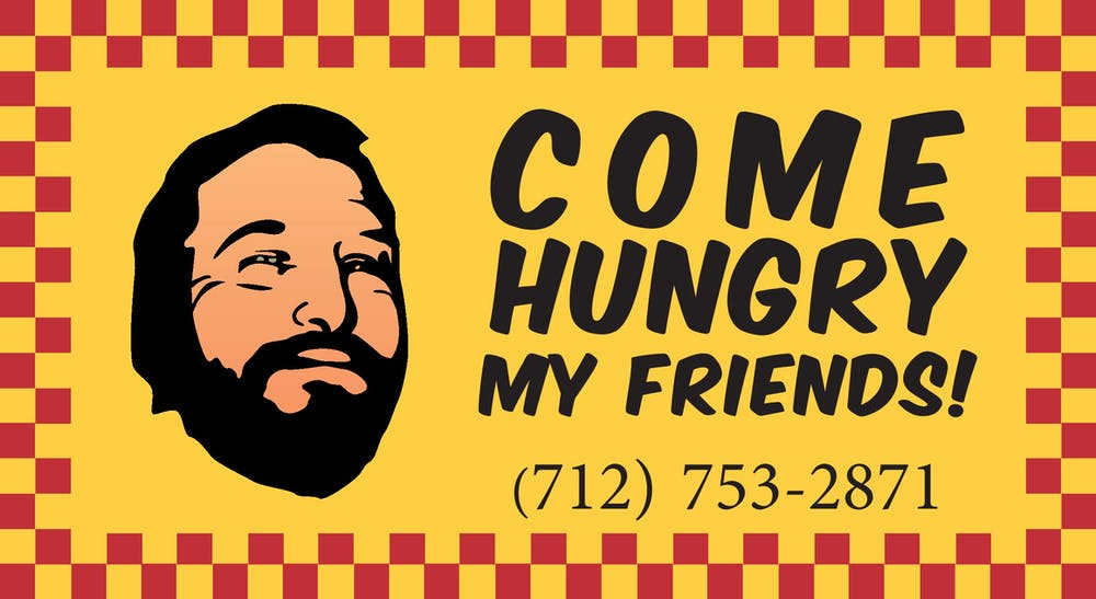 "a close up of a red and yellow banner with text saying ""come hungry my friends!"" and 7127532871 phone number"