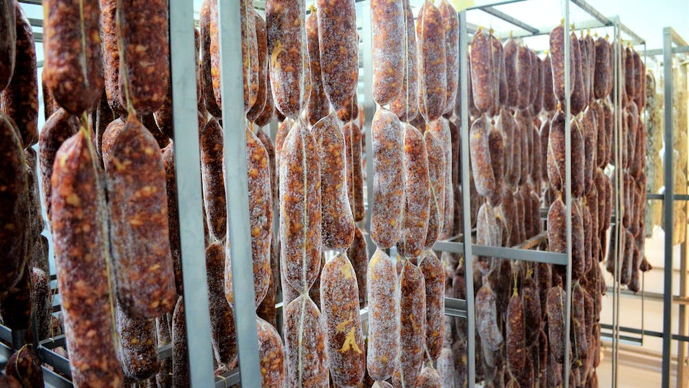 il porcellino's salami hanging in a drying room to display the beginning of the mold bloom that protects the salami from bad mold and bacteria.