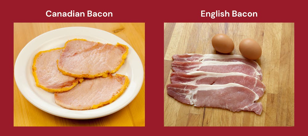 An image with pictures of Canadian bacon and English bacon side by side to show their differences.