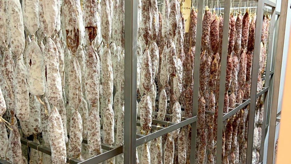 A picture showing the various growth stages of protective mold on il porcellino's salami.